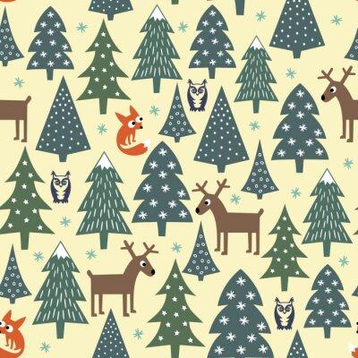 Adesivo Seamless christmas pattern - varia alberi di Natale, case, volpi, gufi e cervi. Felice anno nuovo sfondo. disegno vettoriale per le vacanze invernali. Bambino stile di disegno della natura foresta ill