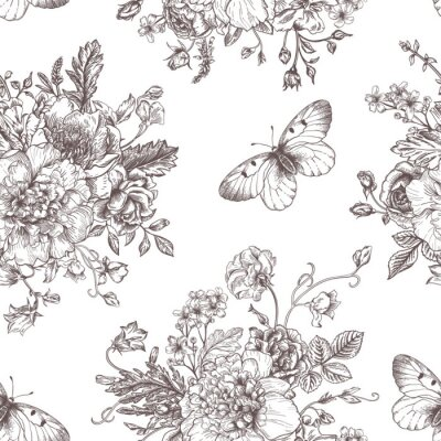 Adesivo Seamless fiori e farfalle.