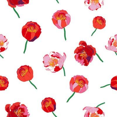 Adesivo Seamless floral background. fiori rossi isolati su sfondo bianco. Illustrazione vettoriale.