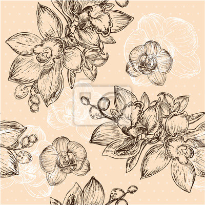 Adesivo Seamless floral pattern with orchid