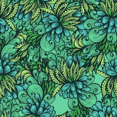 Seamless Mano Disegnato Sfondo Verde Con Foglie Espressive Adesivi