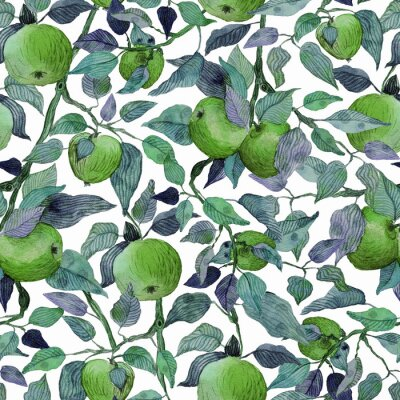 Adesivo seamless pattern apple tree branch with green apples watercolor stylized illustration
