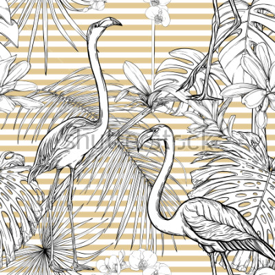 Adesivo Seamless pattern, background. with tropical plants and flowers with white orchid and tropical birds. Graphic drawing, engraving style. vector illustration. Black and white on beige and white stripes.