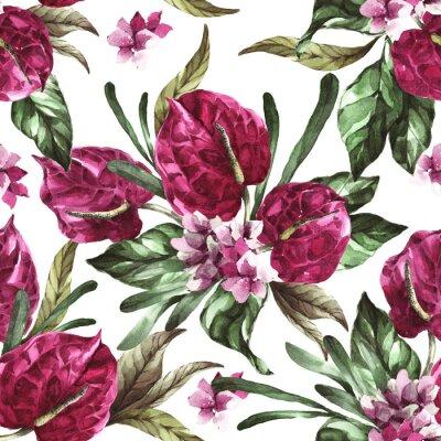 Adesivo seamless pattern burgundy flowers