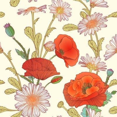 Adesivo Seamless pattern - camomilla e fiori di papavero