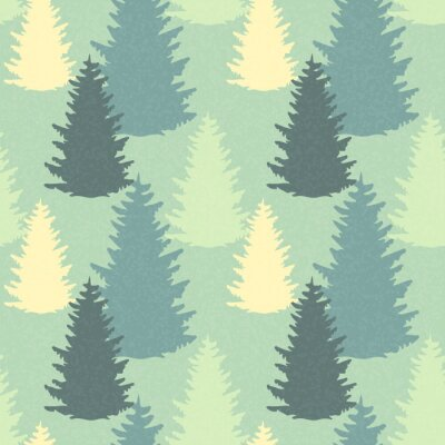 Adesivo Seamless pattern con alberi di abete rosso