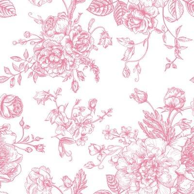 Adesivo Seamless pattern con bouquet di fiori.