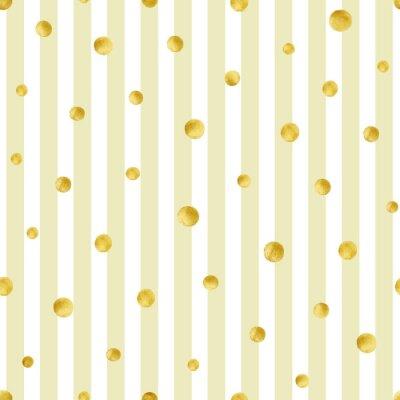 Adesivo Seamless pattern con cerchi dipinti a mano in oro. motivo a pois oro