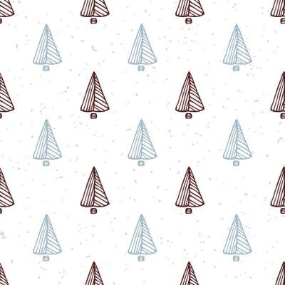 Adesivo Seamless pattern con disegnata a mano albero di Natale. vacanza sfondo Doodle