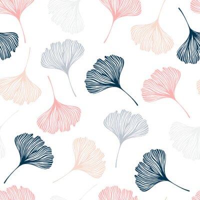Adesivo Seamless pattern con foglie di ginkgo.