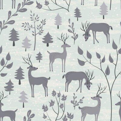 Adesivo Seamless pattern con i cervi nella foresta di inverno