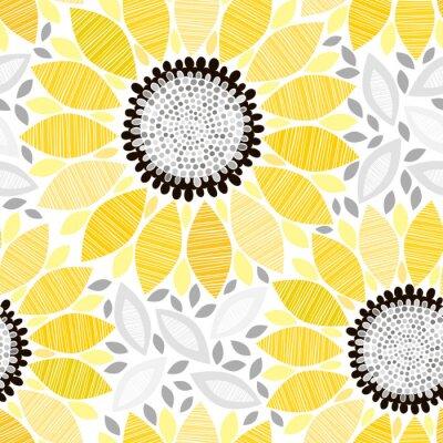 Adesivo Seamless pattern con i girasoli. Astratto sfondo floreale.