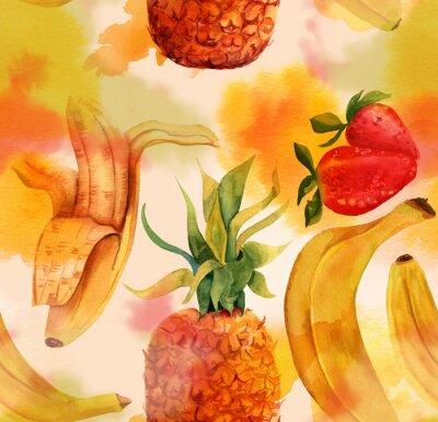 Adesivo Seamless pattern con le banane luminosi, fragole e ananas