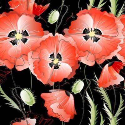 Adesivo Seamless Pattern con papaveri rossi