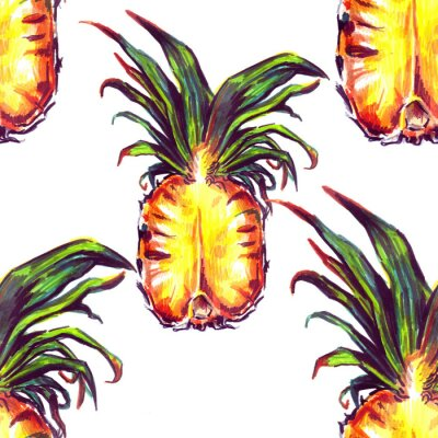 Adesivo Seamless pattern con piante tropicali e di frutta