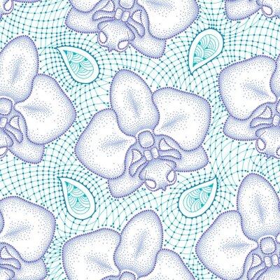 Adesivo Seamless pattern con punteggiata Orchid falena o Phalaenopsis in viola e turchese pizzo decorativo su sfondo bianco. sfondo floreale in stile dotwork.