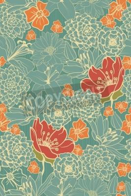 Adesivo Seamless pattern floreale con fiori rossi su sfondo bianco e nero
