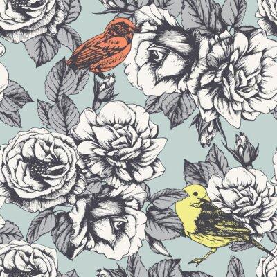 Adesivo Seamless pattern floreale con rose e uccelli disegnati a mano. Vettore