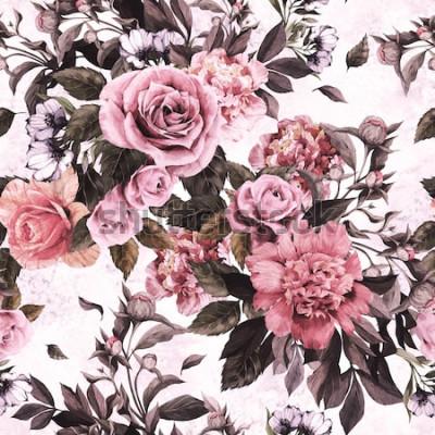 Adesivo Seamless pattern floreale con rose rosa e peonie su sfondo acquerello.