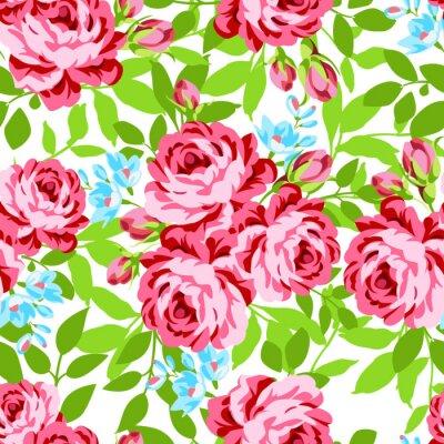 Adesivo Seamless pattern floreale con rose rosa giardino