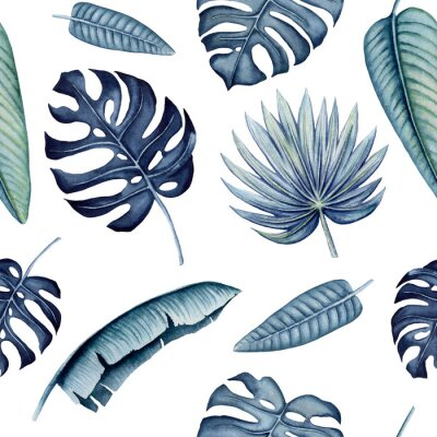 Adesivo Seamless Pattern of Watercolor Tropical Leaves