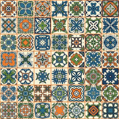 Adesivo Seamless pattern patchwork, piastrelle, ornamenti