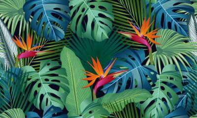 Adesivo Seamless pattern tropical leaves with bird of paradise on black background