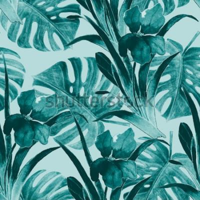 Adesivo Seamless pattern tropicale con fiori di iris e foglie esotiche. Acquerello. Vernice a mano.