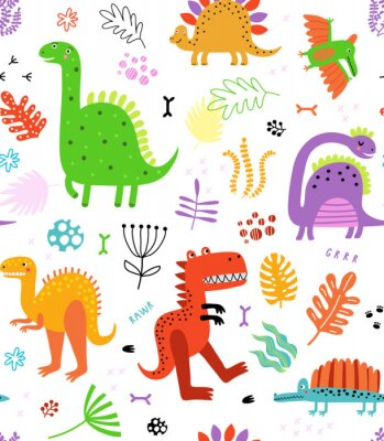 Adesivo Seamless pattern with dinosaurs and flowers