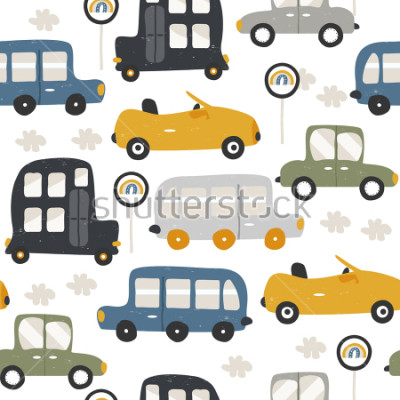 Adesivo Seamless pattern with funny cars. Fashion kids print. Vector hand drawn illustration.