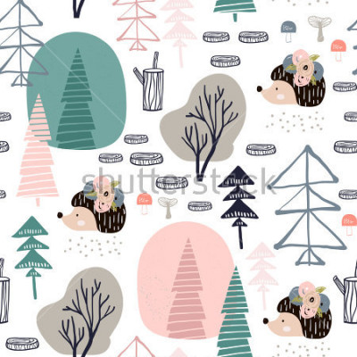 Adesivo Seamless pattern with hedgehog, forest elements. Creative woodland height detailed background. Perfect for kids apparel,fabric, textile, nursery decoration,wrapping paper.Vector Illustration