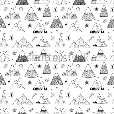 Adesivo Seamless pattern with mountains and stars. Can be used for wallpaper, pattern fills, textile, web page background, surface textures