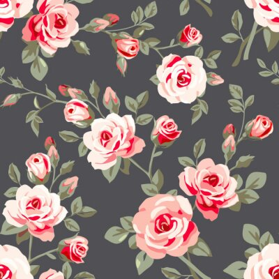 Adesivo Seamless pattern with pink roses