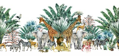 Adesivo seamless pattern with safari animals and palm trees.Tropical vintage botanical island banner. Exotic jungle border.