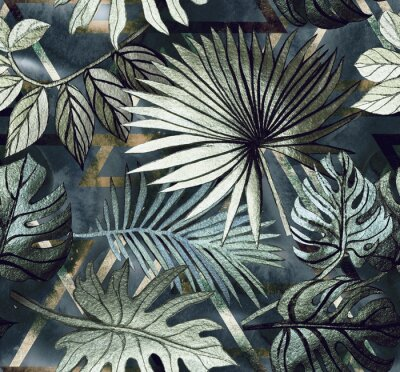 Adesivo Seamless pattern with tropical leaves and  geometric shapes. Tropical  background.