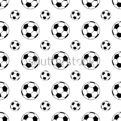 Adesivo Seamless patterns from a soccer ball. Black and white. Vector illustration.