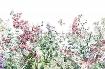 Adesivo seamless rim. Border with Herbs and wild flowers, leaves. Botanical Illustration Colorful illustration on white background. Spring composition with butterfly