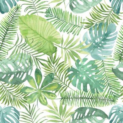 Adesivo seamless tropicale con foglie. sfondo acquerello con foglie tropicali.