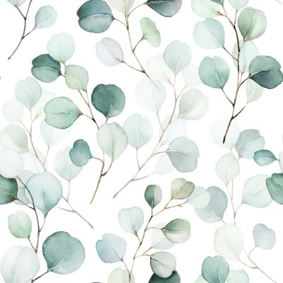 Adesivo Seamless watercolor floral pattern - green leaves and branches composition on white background, perfect for wrappers, wallpapers, postcards, greeting cards, wedding invitations, romantic events.