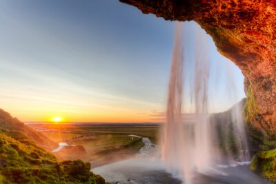 Adesivo Seljalandsfoss Cascata al tramonto, Islanda