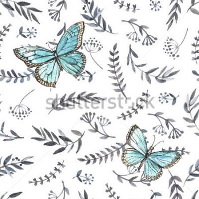 Adesivo Senza cuciture floreale dell'acquerello monocromatico con le farfalle. Pittura a mano Acquerello. Modello senza cuciture per tessuto, carta e altri progetti di stampa e web.