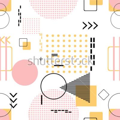 Adesivo Senza soluzione di continuità alla moda, stile di Memphis con motivo geometrico, illustrazione vettoriale con figure geometriche. Progettare sfondi per modello di invito, brochure e promozione.