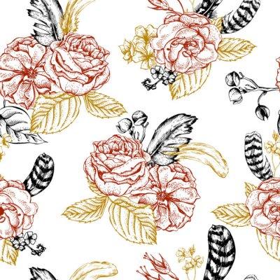 Adesivo senza soluzione di sfondo floreale con rose e piume