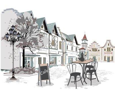 Adesivo Serie di caffè di strada nella città vecchia