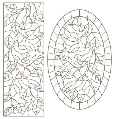 Adesivo Serie di illustrazioni di contorno di vetrate con rami di albero, ramo di melo, contorni scuri su sfondo bianco, immagini rettangolari e ovali