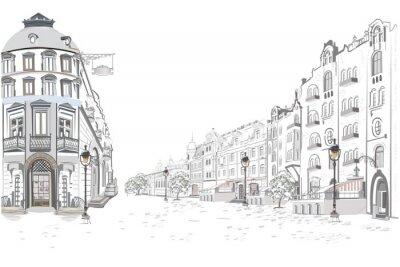 Adesivo Serie di viste sulla strada nella città vecchia. Fondo architettonico di vettore disegnato a mano con edifici storici.