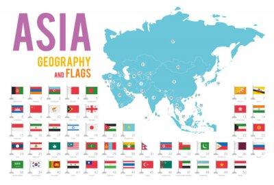 Adesivo Set di 50 bandiere dell'Asia isolato su sfondo bianco e mappa dell'Asia con paesi situati su di esso.
