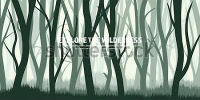 Adesivo Set di alberi. Abetaia selvaggia, fondo della natura. Illustrazione di Wood.Vector Banner. Albero verde scuro. Landscape.Grass, prato.