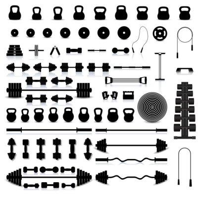 Adesivo Set di attrezzature sportive, illustrazione vettoriale.