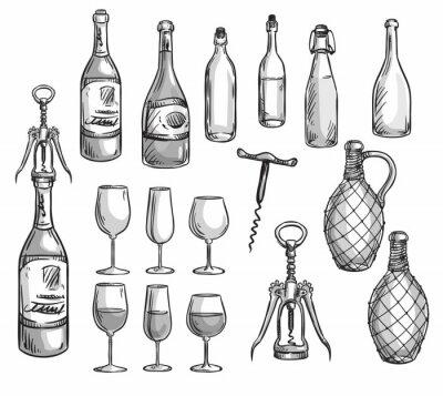 Adesivo Set di bottiglie, bicchieri di vino e cavatappi
